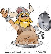 Vector Illustration of a Cartoon Male Viking School Mascot Serving a Thanksgiving Turkey by Toons4Biz