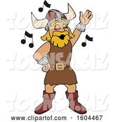 Vector Illustration of a Cartoon Male Viking School Mascot Singing by Toons4Biz