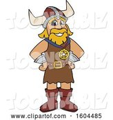 Vector Illustration of a Cartoon Male Viking School Mascot Wearing a Sports Medal by Toons4Biz