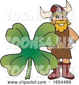 Vector Illustration of a Cartoon Male Viking School Mascot with a St Patricks Day Clover by Toons4Biz