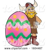 Vector Illustration of a Cartoon Male Viking School Mascot with an Easter Egg by Toons4Biz