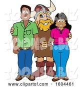 Vector Illustration of a Cartoon Male Viking School Mascot with Parents by Toons4Biz