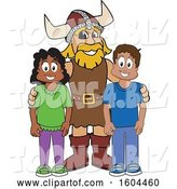 Vector Illustration of a Cartoon Male Viking School Mascot with Students by Toons4Biz