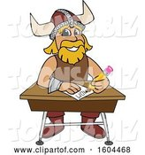 Vector Illustration of a Cartoon Male Viking School Mascot Writing at a Desk by Toons4Biz