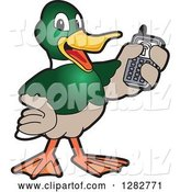 Vector Illustration of a Cartoon Mallard Duck School Mascot Holding up a Cell Phone by Toons4Biz