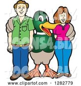 Vector Illustration of a Cartoon Mallard Duck School Mascot Posing with Parents by Toons4Biz