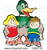 Vector Illustration of a Cartoon Mallard Duck School Mascot Posing with Students by Toons4Biz