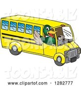 Vector Illustration of a Cartoon Mallard Duck School Mascot Waving and Driving a Bus by Toons4Biz
