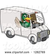Vector Illustration of a Cartoon Mallard Duck School Mascot Waving and Driving a Delivery Van by Toons4Biz