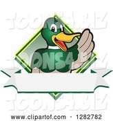 Vector Illustration of a Cartoon Mallard Duck School Mascot Waving over a Blank Banner and Diamond by Toons4Biz