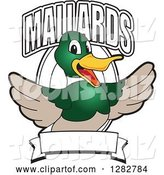 Vector Illustration of a Cartoon Mallard Duck School Mascot Welcoming with Text over an Oval and Blank Banner by Toons4Biz