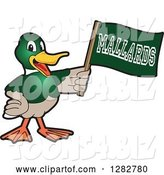 Vector Illustration of a Cartoon Mallard Duck School Sports Mascot Holding up a Flag by Toons4Biz