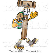 Vector Illustration of a Cartoon Mallet Mascot Hiking and Carrying a Backpack by Toons4Biz