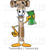 Vector Illustration of a Cartoon Mallet Mascot Holding a Dollar Bill by Toons4Biz