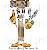 Vector Illustration of a Cartoon Mallet Mascot Holding a Pair of Scissors by Toons4Biz