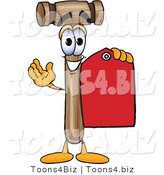 Vector Illustration of a Cartoon Mallet Mascot Holding a Red Sales Price Tag by Toons4Biz