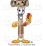 Vector Illustration of a Cartoon Mallet Mascot Holding a Telephone by Toons4Biz