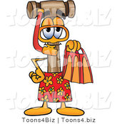 Vector Illustration of a Cartoon Mallet Mascot in Orange and Red Snorkel Gear by Toons4Biz