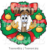 Vector Illustration of a Cartoon Mallet Mascot in the Center of a Christmas Wreath by Toons4Biz