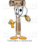 Vector Illustration of a Cartoon Mallet Mascot Looking Through a Magnifying Glass by Toons4Biz