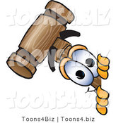 Vector Illustration of a Cartoon Mallet Mascot Peeking Around a Corner by Toons4Biz