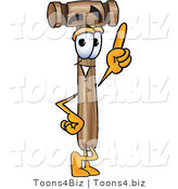 Vector Illustration of a Cartoon Mallet Mascot Pointing Upwards by Toons4Biz