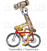 Vector Illustration of a Cartoon Mallet Mascot Riding a Bicycle by Toons4Biz
