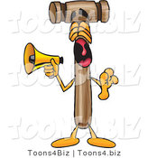 Vector Illustration of a Cartoon Mallet Mascot Screaming into a Megaphone by Toons4Biz
