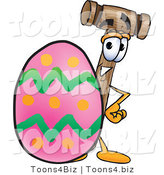 Vector Illustration of a Cartoon Mallet Mascot Standing Beside an Easter Egg by Toons4Biz