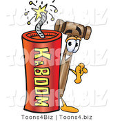 Vector Illustration of a Cartoon Mallet Mascot Standing with a Lit Stick of Dynamite by Toons4Biz