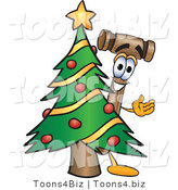 Vector Illustration of a Cartoon Mallet Mascot Waving and Standing by a Decorated Christmas Tree by Toons4Biz