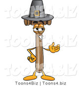 Vector Illustration of a Cartoon Mallet Mascot Wearing a Pilgrim Hat on Thanksgiving by Toons4Biz