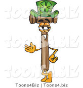 Vector Illustration of a Cartoon Mallet Mascot Wearing a Saint Patricks Day Hat with a Clover on It by Toons4Biz
