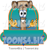 Vector Illustration of a Cartoon Mallet Mascot with a Blank Blue and Green Label by Toons4Biz