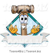 Vector Illustration of a Cartoon Mallet Mascot with a Blank Label by Toons4Biz