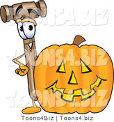 Vector Illustration of a Cartoon Mallet Mascot with a Carved Halloween Pumpkin by Toons4Biz