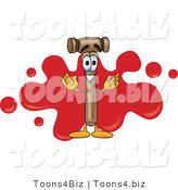 Vector Illustration of a Cartoon Mallet Mascot with a Red Paint Splatter by Toons4Biz