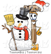 Vector Illustration of a Cartoon Mallet Mascot with a Snowman on Christmas by Toons4Biz