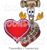 Vector Illustration of a Cartoon Mallet Mascot with an Open Box of Valentines Day Chocolate Candies by Toons4Biz
