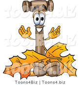 Vector Illustration of a Cartoon Mallet Mascot with Autumn Leaves and Acorns in the Fall by Toons4Biz