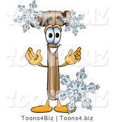 Vector Illustration of a Cartoon Mallet Mascot with Three Snowflakes in Winter by Toons4Biz