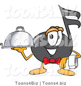 Vector Illustration of a Cartoon Music Note Mascot Dressed As a Waiter and Holding a Serving Platter by Toons4Biz