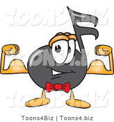 Vector Illustration of a Cartoon Music Note Mascot Flexing His Arm Muscles by Toons4Biz
