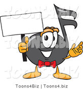 Vector Illustration of a Cartoon Music Note Mascot Holding a Blank Sign by Toons4Biz