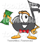 Vector Illustration of a Cartoon Music Note Mascot Holding a Dollar Bill by Toons4Biz