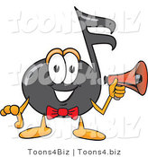 Vector Illustration of a Cartoon Music Note Mascot Holding a Megaphone by Toons4Biz