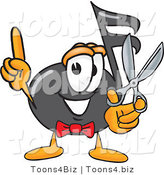 Vector Illustration of a Cartoon Music Note Mascot Holding a Pair of Scissors by Toons4Biz