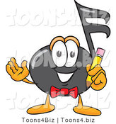 Vector Illustration of a Cartoon Music Note Mascot Holding a Pencil by Toons4Biz