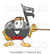 Vector Illustration of a Cartoon Music Note Mascot Holding a Pointer Stick by Toons4Biz