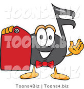 Vector Illustration of a Cartoon Music Note Mascot Holding a Red Sales Price Tag by Toons4Biz